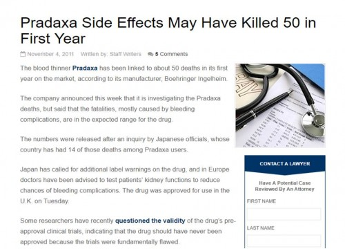 Pradaxa Side Effects May Have Killed 50 in First Year