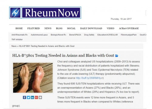 HLA-B*5801 Testing Needed in Asians and Blacks with Gout