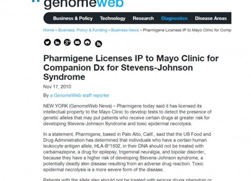 Pharmigene Collaborates with Mayo Clinics to Battle SJS and TENS in United States.